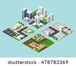 set 3d isometric three... | Shutterstock .eps vector #478783369