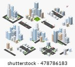 set 3d isometric three... | Shutterstock .eps vector #478786183