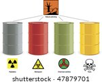 four colored steel barrels with ...   Shutterstock .eps vector #47879701