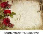 grunge autumnal background with ... | Shutterstock . vector #478800490