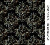 black floral  pattern. royal...   Shutterstock .eps vector #478801504