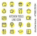 set of kitchen tools line icon...