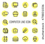 set of computer line icon...