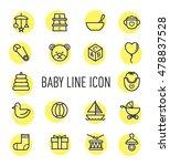 set of baby line icon