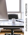 office desk at morning with a... | Shutterstock . vector #478840558