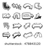 set of arrow doodle isolated on ... | Shutterstock . vector #478843120