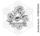 vector all seeing eye pyramid... | Shutterstock .eps vector #478845064