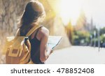 hipster girl with backpack... | Shutterstock . vector #478852408
