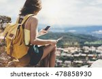 hipster young girl with bright... | Shutterstock . vector #478858930