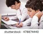 two teenage boys doing homework ...   Shutterstock . vector #478874440