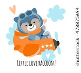 cute raccoon pilot on a plane...