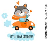 cute raccoon in the funny car.... | Shutterstock .eps vector #478875718