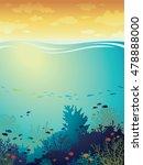 cartoon coral reef with school... | Shutterstock .eps vector #478888000