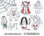 vector set of scary monsters  ... | Shutterstock .eps vector #478888846