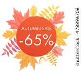 autumn sale 65  off circle... | Shutterstock .eps vector #478896706