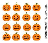 vector halloweens pumpkin set... | Shutterstock .eps vector #478898686