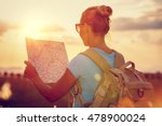 Rear View Of A Traveler Girl...