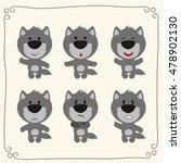 vector set cute wolf.... | Shutterstock .eps vector #478902130
