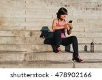 fitness sporty woman listening... | Shutterstock . vector #478902166