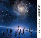 people gather in mystery sci fi ...   Shutterstock . vector #47890543