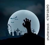 halloween background. zombie... | Shutterstock .eps vector #478918690