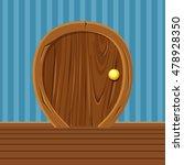 cartoon wooden rounded door for ...