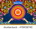colorful pookalam flower... | Shutterstock .eps vector #478928740