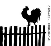 vector silhouette of the cock on old fence - stock vector