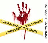 bloody handprint and police... | Shutterstock .eps vector #478946290