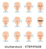 set of old professor emoticons. ... | Shutterstock .eps vector #478949608