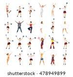 girls cheerleaders bright group  | Shutterstock . vector #478949899