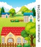 neighborhood with many houses... | Shutterstock .eps vector #478957246
