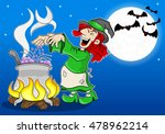 illustration of a witch cooking ... | Shutterstock . vector #478962214