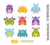 funny cartoon monsters set with ... | Shutterstock .eps vector #478964248