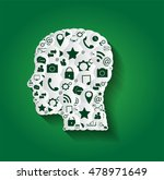 human head with social media...