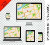 digital devices with gps map on ... | Shutterstock .eps vector #478980550