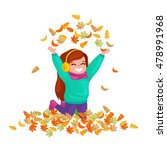 Girl  Throws Up Autumn Leaves.