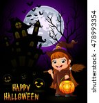 little witch cartoon holding... | Shutterstock .eps vector #478993354