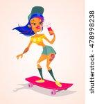 girl character on longboard.... | Shutterstock .eps vector #478998238