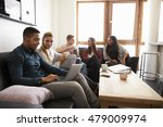 students relaxing in lounge of... | Shutterstock . vector #479009974