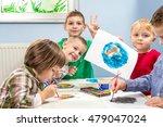 young preschool kids painting... | Shutterstock . vector #479047024