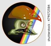 skull mushroom rainbow ... | Shutterstock .eps vector #479072584