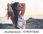 beautiful boho styled girl...   Shutterstock . vector #479097640