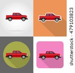 car pickup flat icons vector... | Shutterstock .eps vector #479103823
