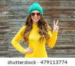 beautiful smiling brunette... | Shutterstock . vector #479113774