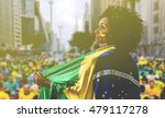 woman holding the flag of... | Shutterstock . vector #479117278