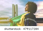 woman holding the flag of... | Shutterstock . vector #479117284