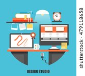 flat concept of creative office ...