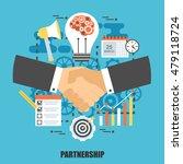 flat concept of handshake...   Shutterstock .eps vector #479118724