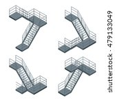 Isometric Staircase. Flat 3d...